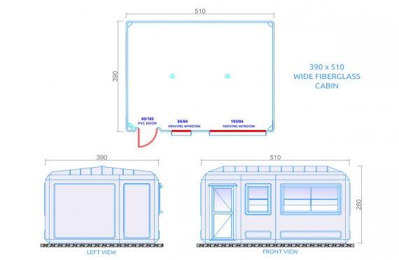 390x510 cm keng portativ binolar