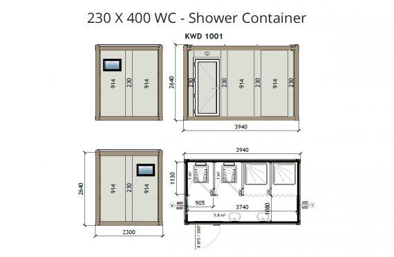 KW4 230x400 WC -dush konteyner