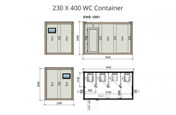 KW4 230x400 WC Konteyner