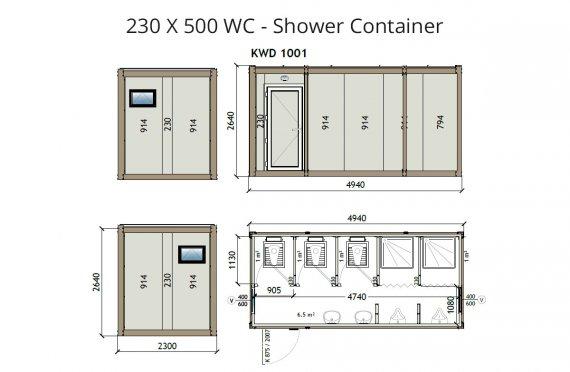KW6 230x500 WC -dush kabina
