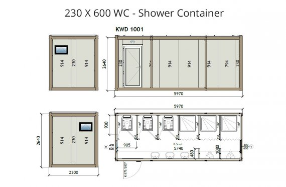 KW6 230x600 WC-Dush konteyner