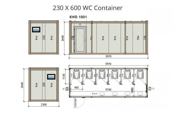 KW6 230x600 Wc konteyner