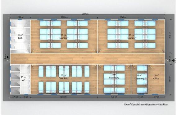 Joylarda joylashgan turar joy binolari 736 m²